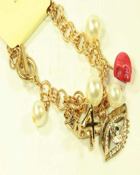 Antique Type Bracelet Golden With Pearls and stones