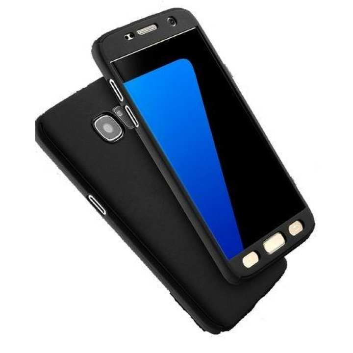 360 Degree Full Protection Case With Screen Protection For Samsung J7Max With Glass - Black