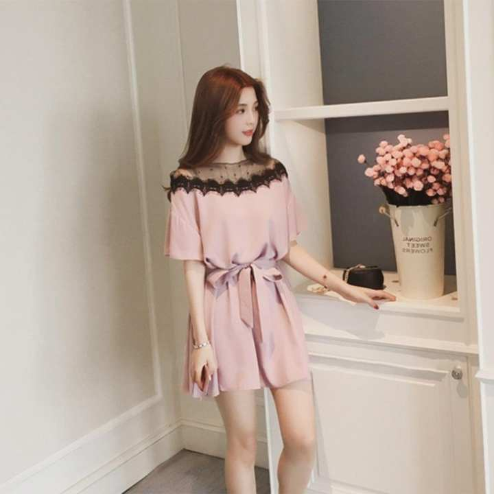 Fashion Plus Size Mesh Patchwork Summer Lady Dress Elegant Short Sleeve