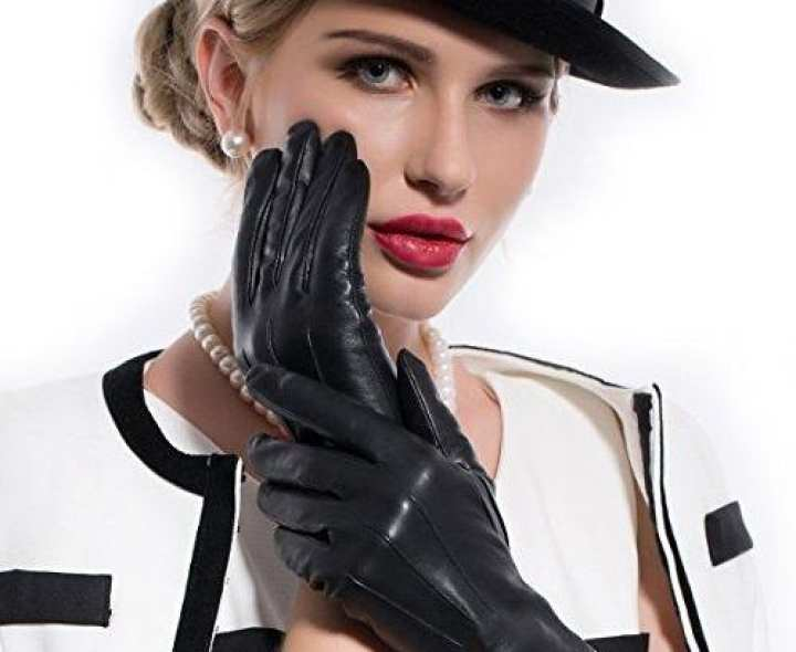 Ladies Black Leather Gloves For Dressing And Winter Cold