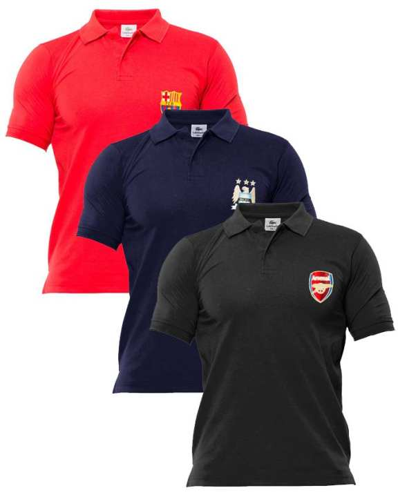 black ,blue,red pack of 3 polo Tshirts with front logo