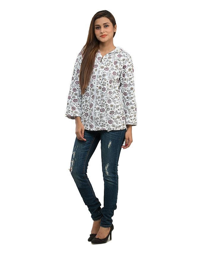 Multi Color Fleece Hoodie with Front Zipper & Side Pocket for Women - 14216