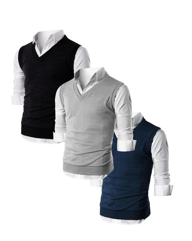 Pack Of 3 , Multicolor Cashmere Sleeveless Sweaters For Men