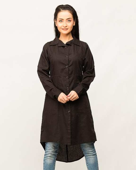 Black Plain With Side Pockets & Shirt Collar Top For Women