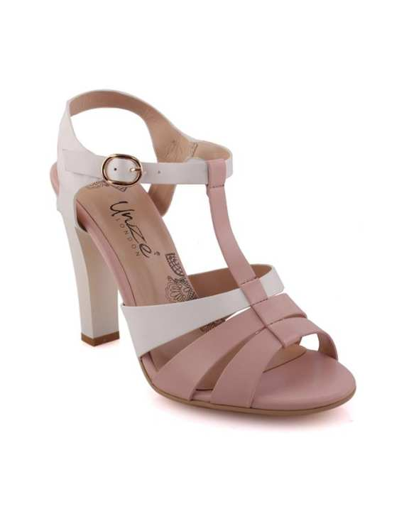 Beige 'Luminate' Two Toned Heel Sandals L29576