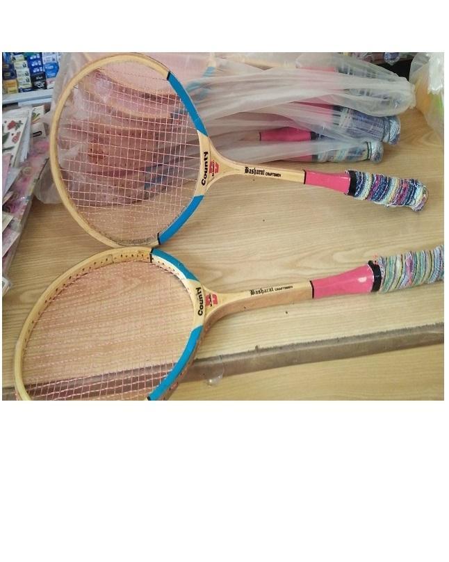 Pack Of 2Pcs Wooden Badminton Racket Set
