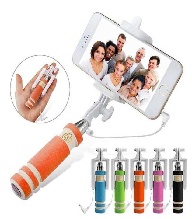 Mini Wired Selfie Stick Monopod For Smartphones - Orange