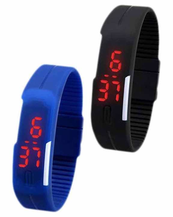 Pack Of 2 Rubber LED Watch For Kids - Black & Blue