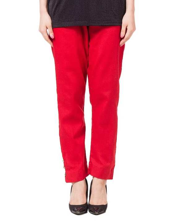 Red Cotton Cigarette Pants For Women