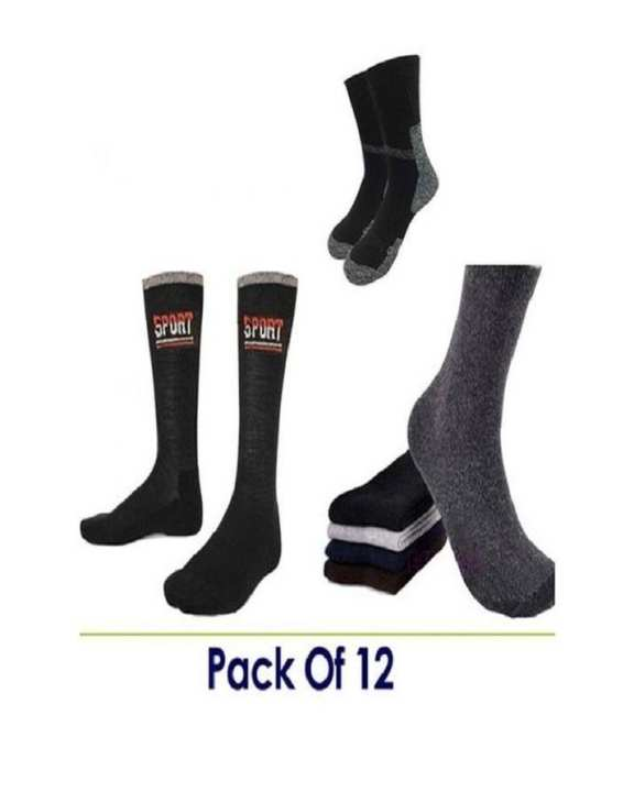 Multicolour Cotton Socks for Men-Pack of 12 by babar fashion