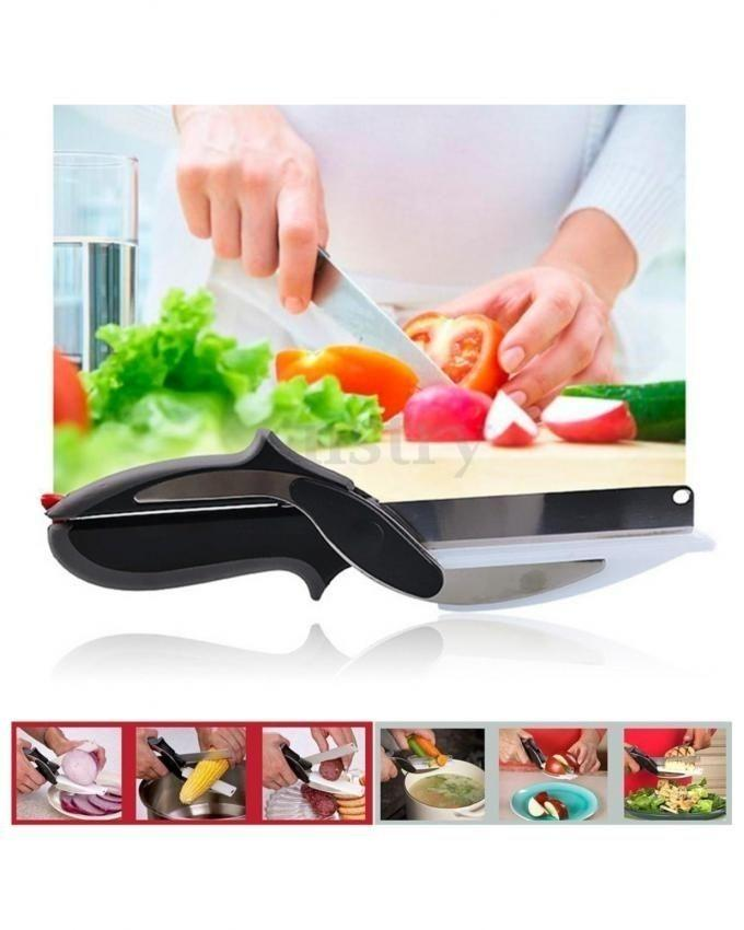 2 in 1 Kitchen Knife with Chopping Vegetable Cutter - Black & Silver