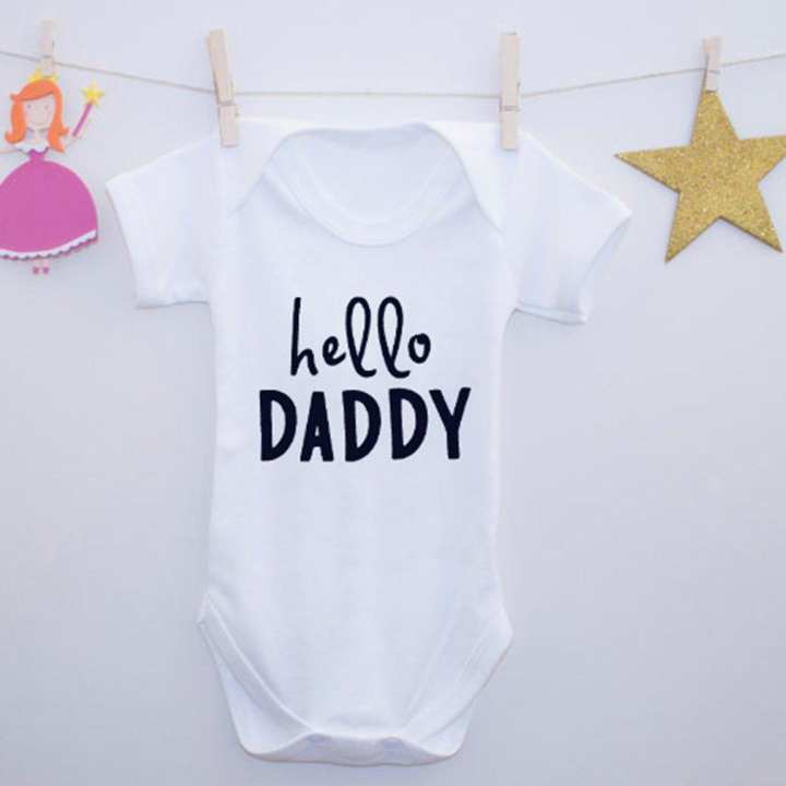 Summer Infant Baby Unisex Letter Printed Short Sleeve Bodysuit Romper Jumpsuit White