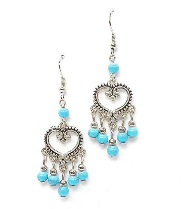 Turquoise Feroza Stone Beautiful Long Drop Earrings Set