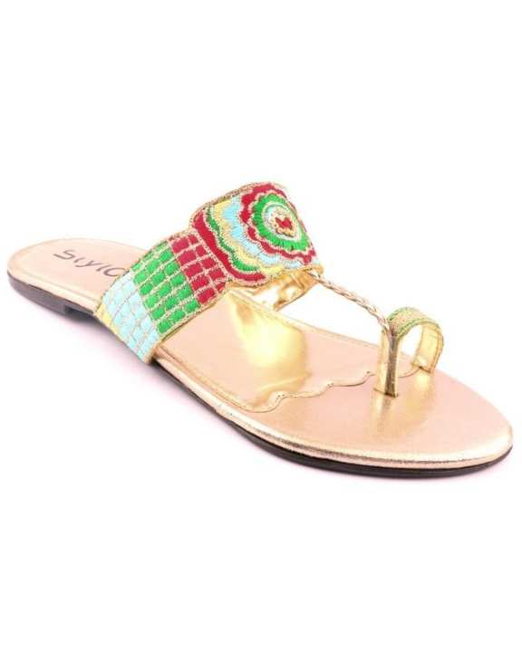 Golden Synthetic Embroidered Casual Chappal for Women