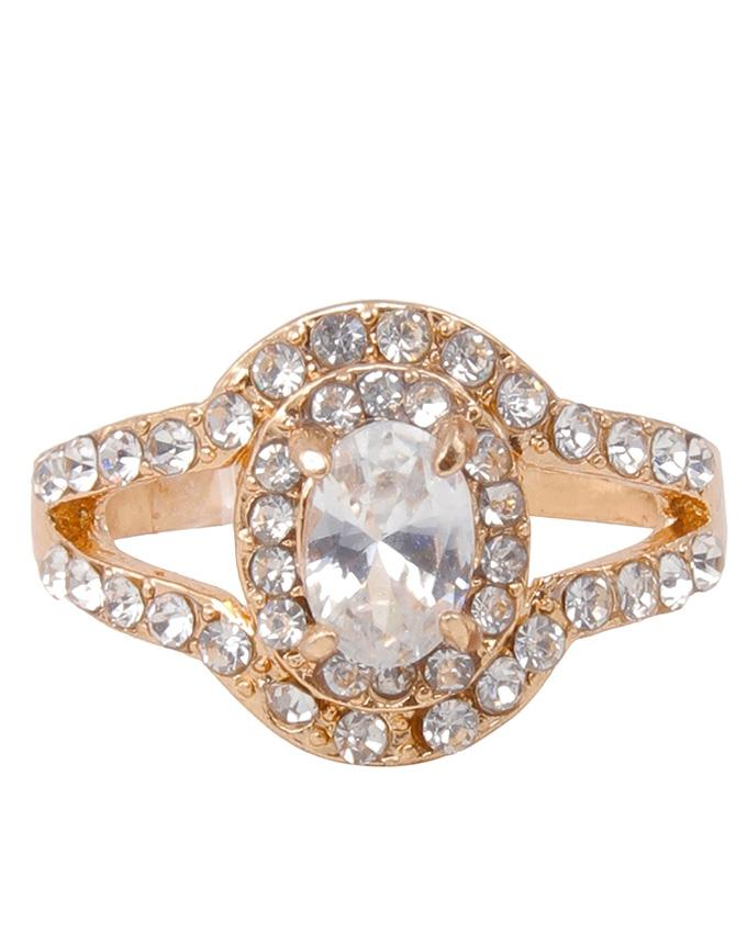 Golden Metal Ring with Zircon Stone for Woman - AC-009