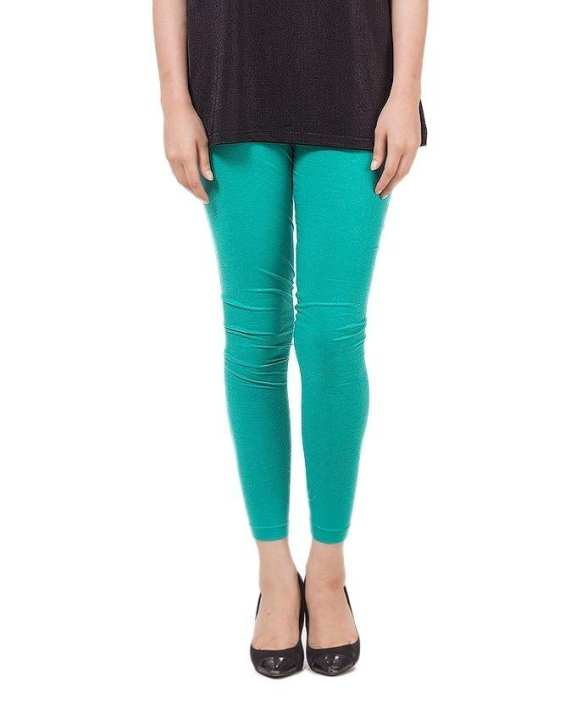 Sea Green Cotton Tights For Women