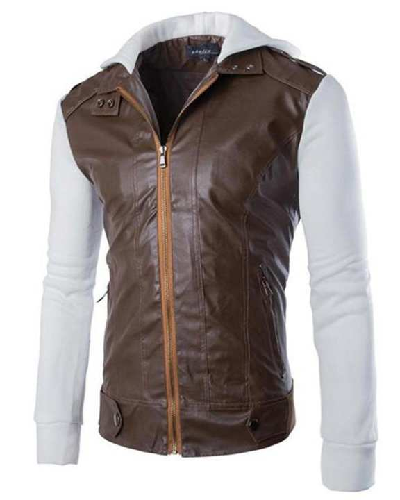Brown Slim Fit Pu Leather Jacket - Men - C3 Large