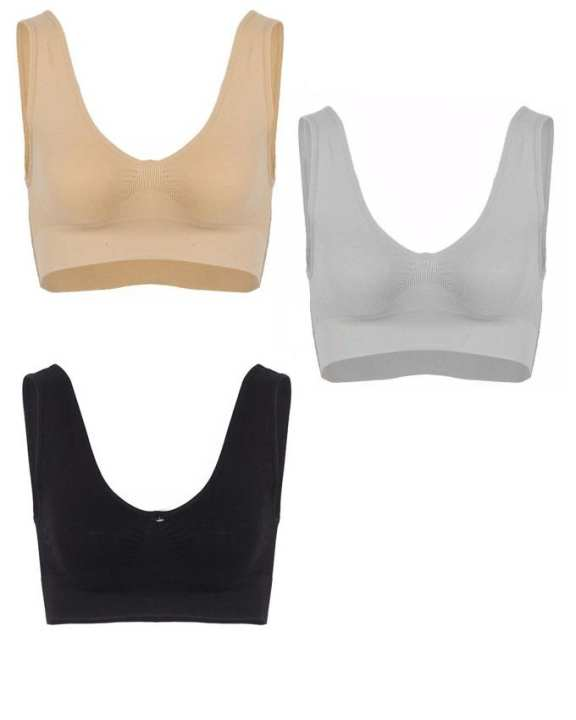 Pack of 3 - Cotton Air Bra For Women - Multicolor