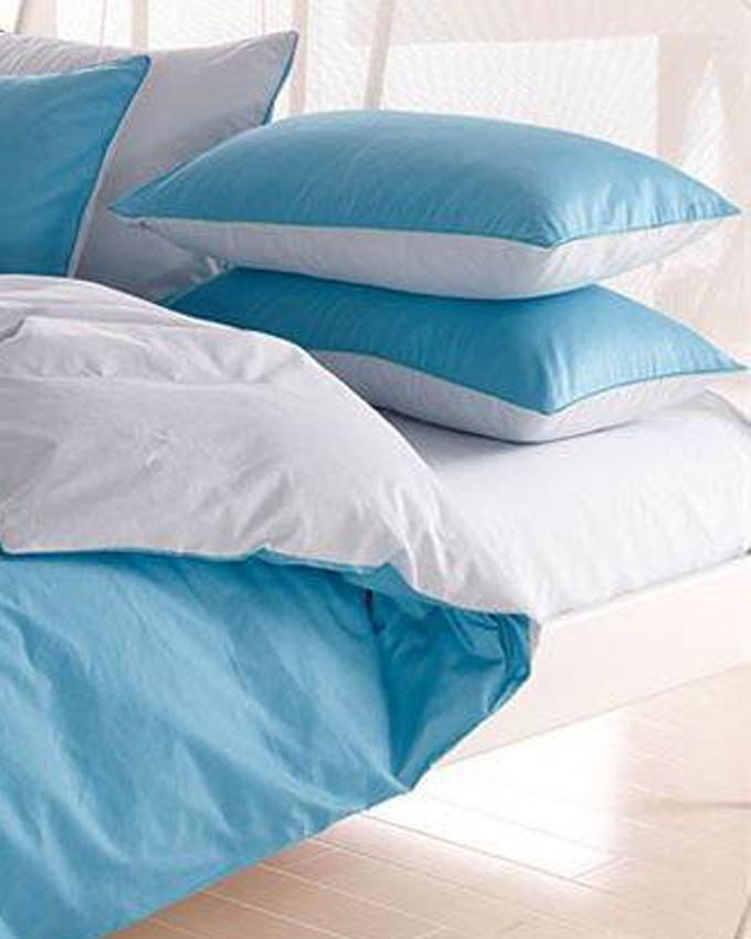 Sky Blue and Powder Blue Cotton Bed Set - d-05