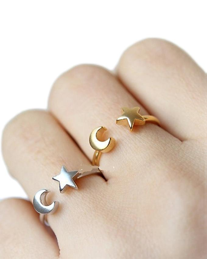 Pack of 2 - Gold and Silver Adjustable Crescent Moon and Tiny Star Rings