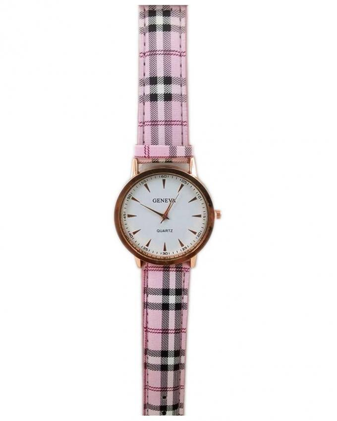 Pink Checkered Strap Watch for Women