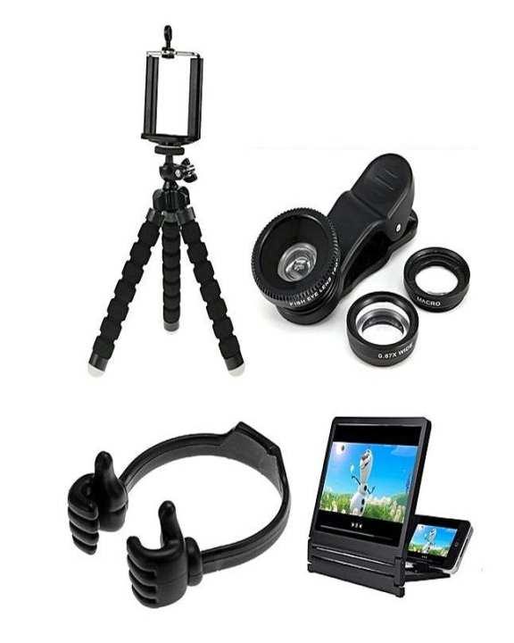 Pack Of 4 Tripod Stand, 3D Screen, Mobile Holder & Camera Lens - Black