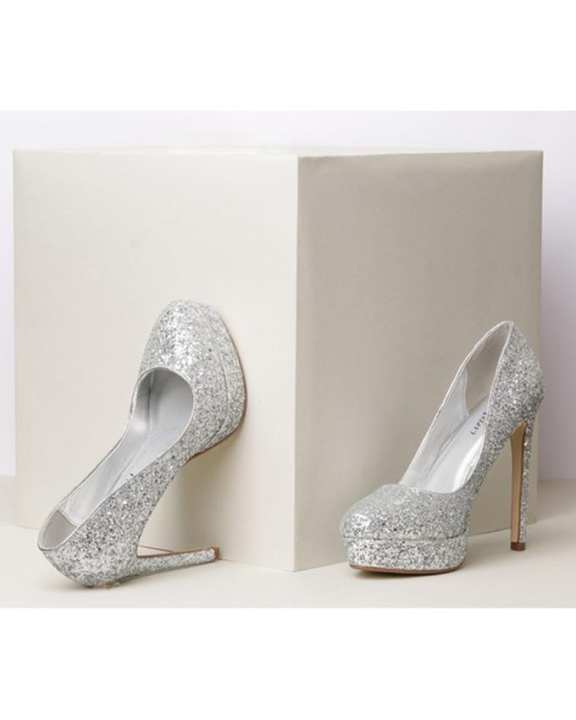 Synthetic Silver Platform Heels For Women
