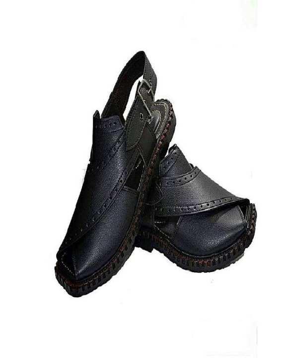 Black Artifical Leather Peshawari Sandals For Men