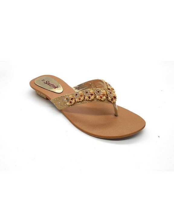 Fawn Golden Synthetic Slippers For Women 2236/110