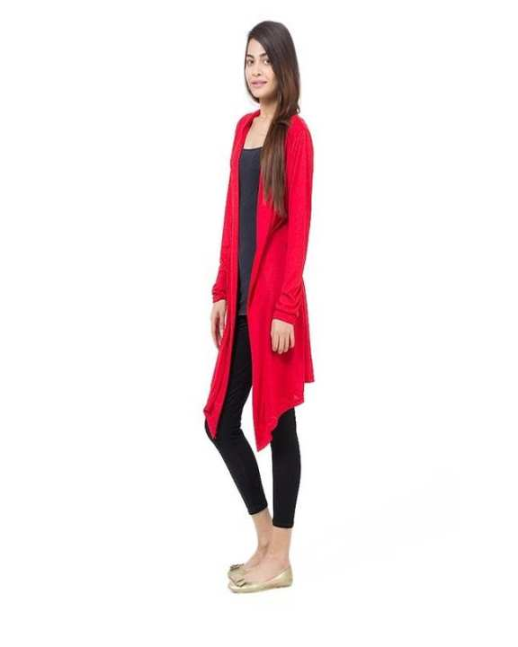 Red Viscose Shrug For Women
