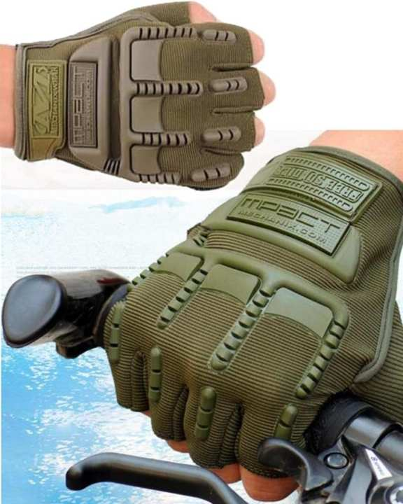Anti Skid Half Finger Tactical Gloves Cycling Riding - Green