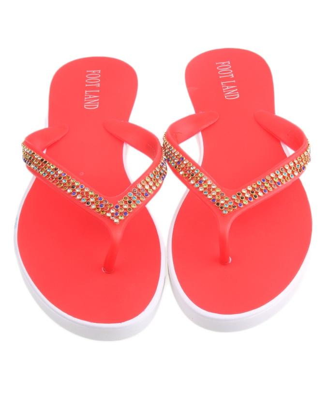 Red Imported Glittery Slippers for Women - LL26