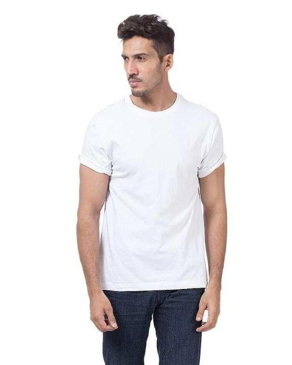 White Cotton Half Sleeves Plain T-Shirt for Men