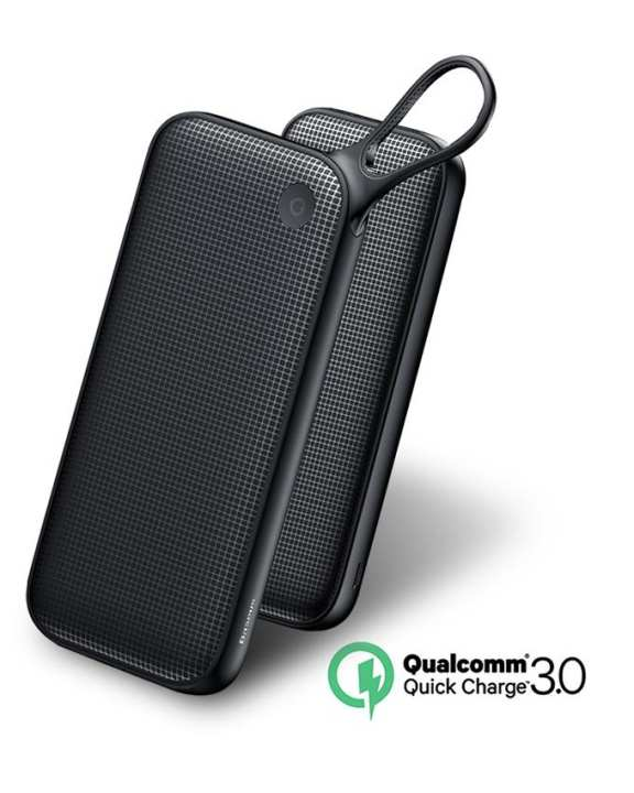 20000mAh Qualcomm QC3.0 Fast Charging Power Bank - Black