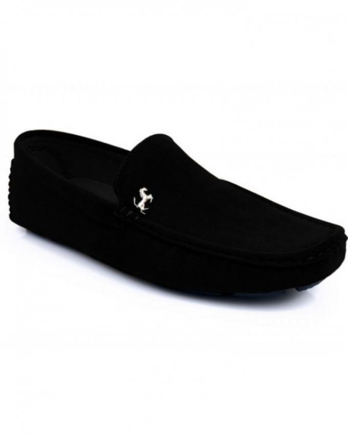 Black Velvet Leather Loafers For Men