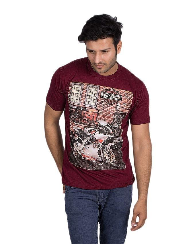 Maroon Cotton Printed T-Shirt For Men