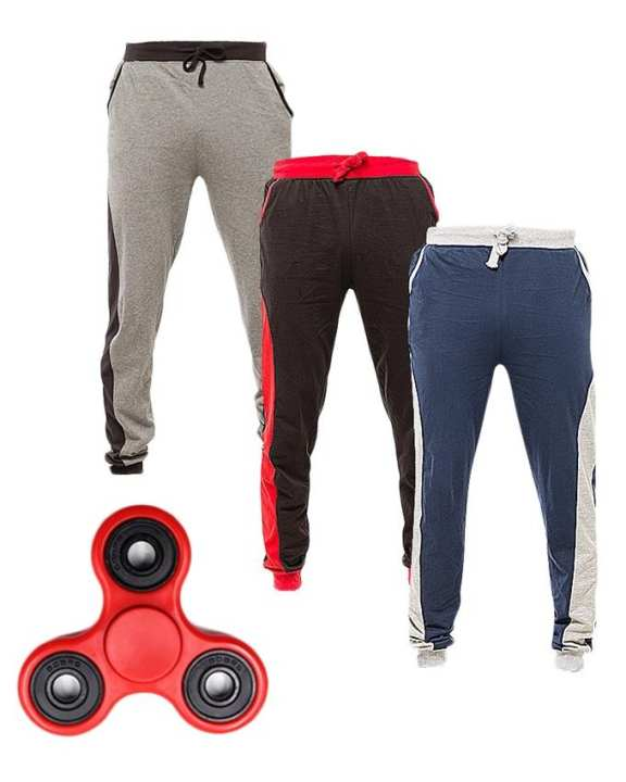 Pack Of 3 - Multicolor Cotton Trousers For Men - With Fidget Spinner
