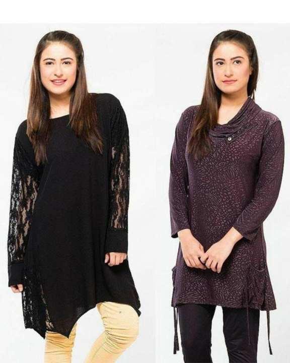 Pack of 2 - Net Sleeves Top & Casual Printed Kurti for Women - Black & Purple
