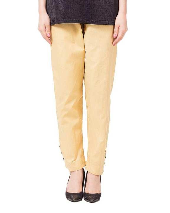 Brown Cotton Cigarette Pants For Women