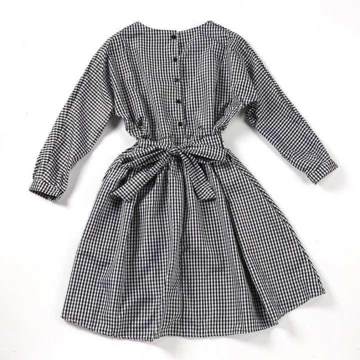 Vintage Black&White Grid Design Knee Length Dress Women Long-sleeved Plaid Dress