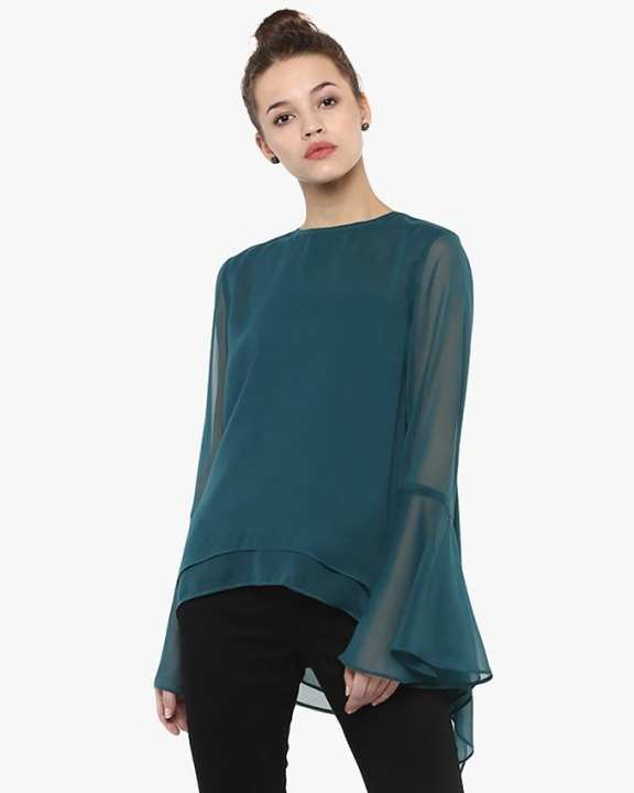Teal Chiffon Top for Her - SI-810