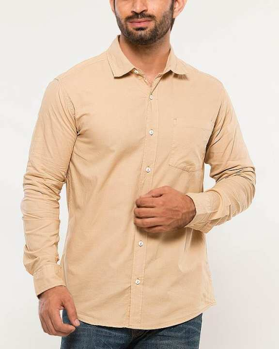 Peach Cotton Woven Shirt for Men
