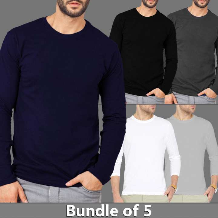 Bundle Of 5 Round Neck Long Sleeves Shirts