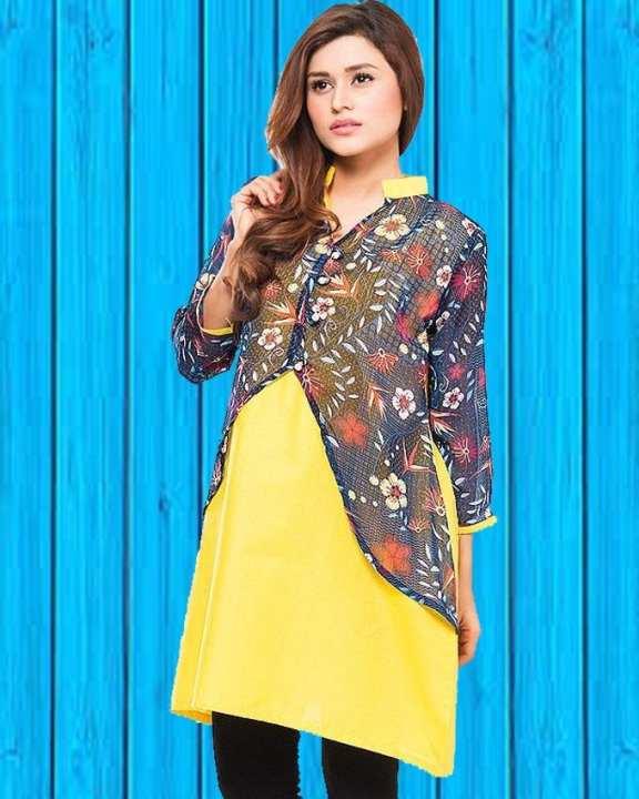 Yellow Cotton Printed Kurti for Women