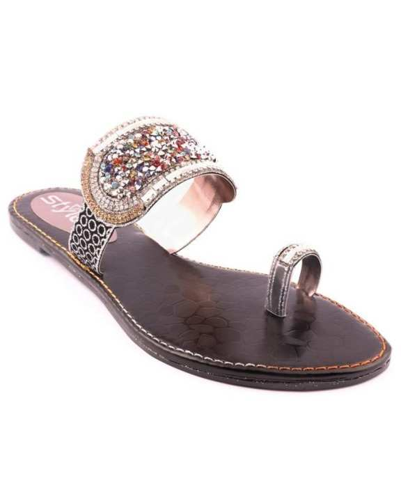 Black Synthetic Casual Chappal for Women