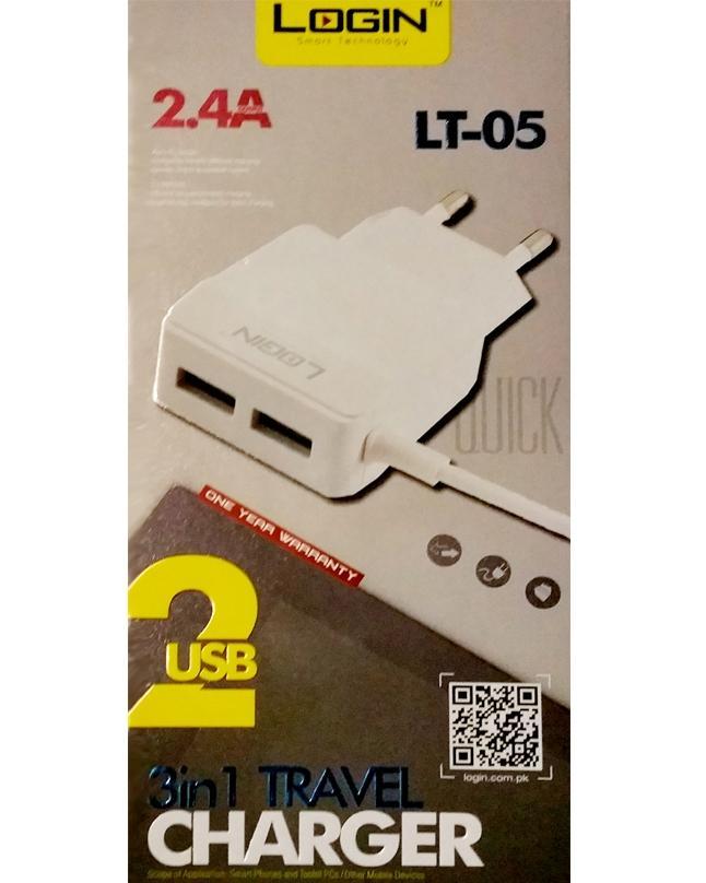LT-05 2 USB Port 3 in 1 Travel Charger - White