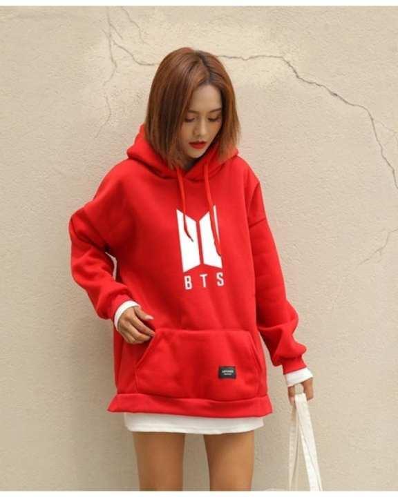 Red Fleece Bts Hoodie For Women