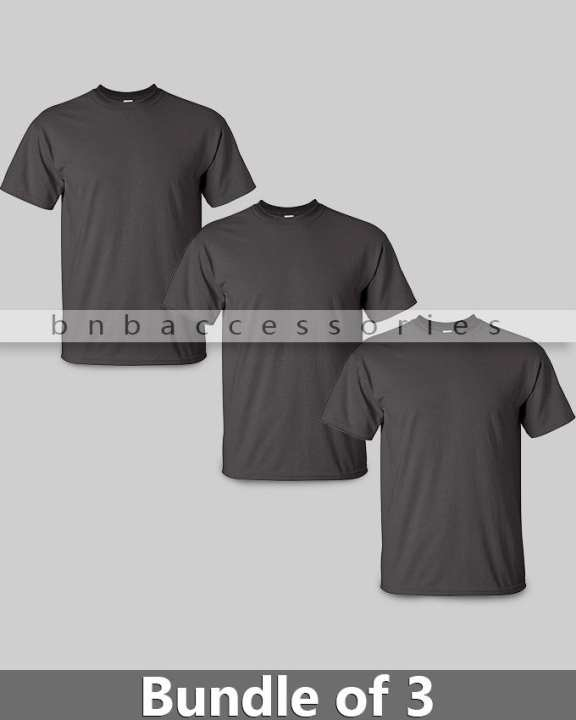 BnB Accessories Pack of 3 - Charcoal Grey Cotton Jersey Round Neck Tshirt For Men