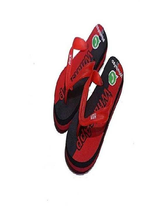 Black Red Rubber Flip Flops For Men