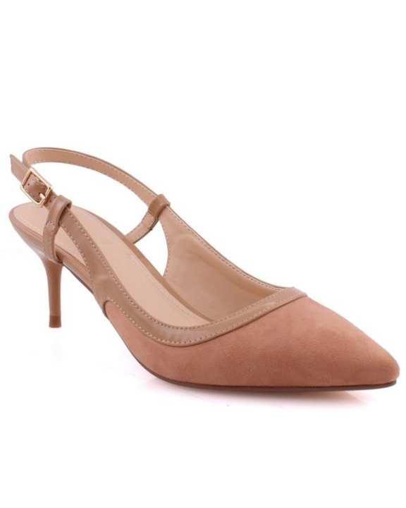 """Unze London Women """"LIL"""" Pointy Toe Kitten Heel Court Shoes  Beige L30369"""
